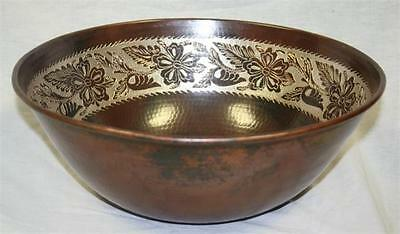 """Beautiful 14"""" Round Hammered Copper Vessel Bath Sink with Silver Design"""
