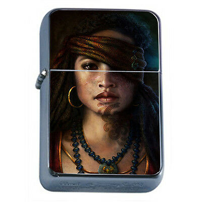 Windproof Refillable Flip Top Oil Lighter Savage Pirate Pin Up D12 Sexy