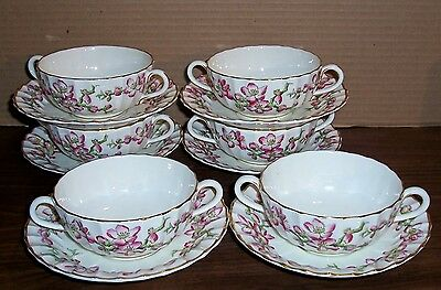 Lot Of 6 Royal Worcester Pomona Cream Soup Cups And Saucers Made In England