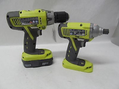 Ryobi Cordless P213 1/2 In Hammer Drill & Impact P234G With Battery P102 Lithium