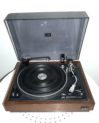 *** 1970s JVC-JLA3 vinyl turntable record player preamp, plinth and cover