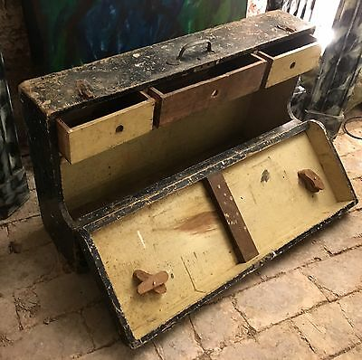 Vintage Wooden Toolmakers Tool Box Cabinet 3 Draw Chest Storage Box
