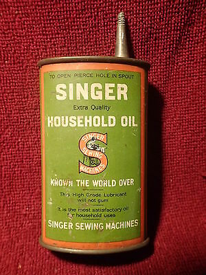 Antique Nice Singer Sewing Machine Tin Household Oil Can Oiler