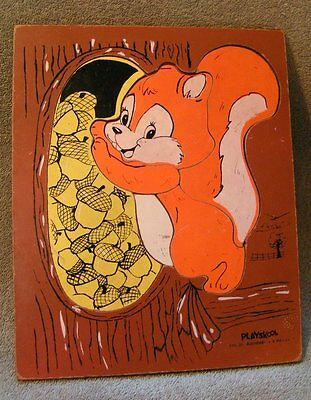 Vintage Wood Playskool SQUIRREL Puzzle - 6 pieces - 3 - 6 yrs. old