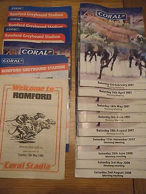 15 x ROMFORD GREYHOUND RACECARDS - 1986 ONWARDS