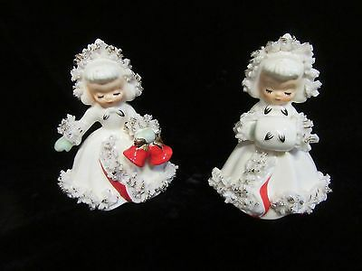 2 Vintage Holt-Howard Christmas Girl in White Candle Holders - 1958 - Spaghetti