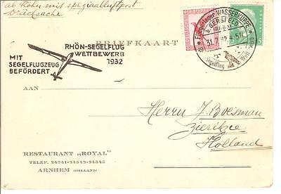 Germany 1932 Glider Flight Card To Holland  Special Glider Cancels