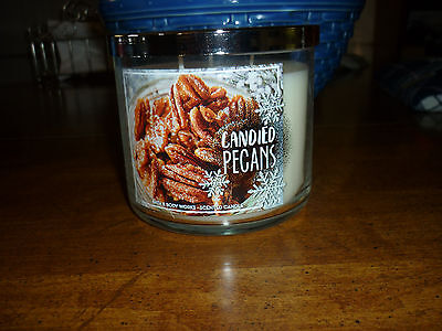Bath & Body Works Candied Pecans Scented 3 Wick Candle with Lid-NWT