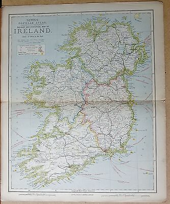 1883  Antique Map - Ireland, Railway And Statistical Map