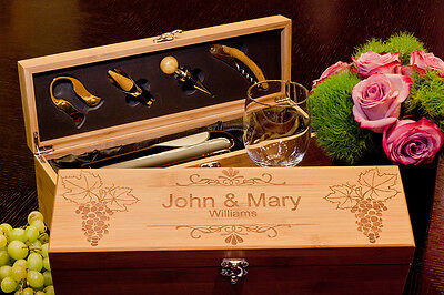 Personalized Gift for Wine Lovers: Bamboo Wine Box & Tools, Laser Engraved Wood