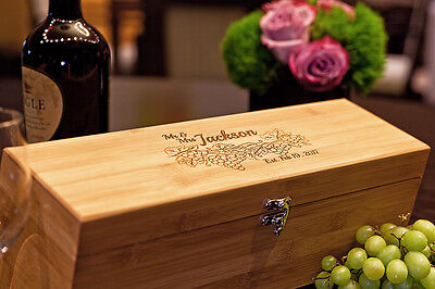 Engraved Bamboo Wine Box & Tools, Personalized Gift for Wine Lovers, Weddings