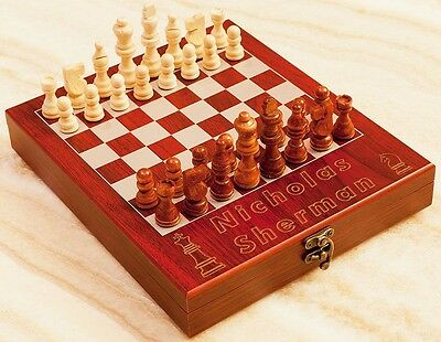 "Personalized Chess Set ""King +Knight"", Engraved Rosewood Travel Chess Board"