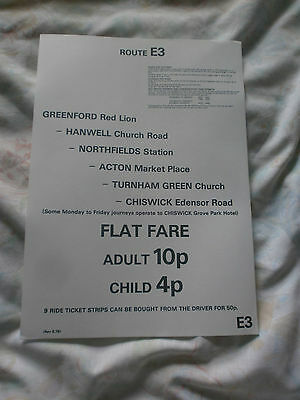 London Transport A4 Sized Fare Chart-Route E3, 1976