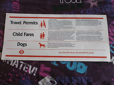 London Transport Routemaster Interior Poster-Travel Permits/child Fares/dogs