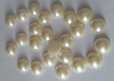 20 PEARL CABOCHONS 12mm ROUND ACRYLIC ~ Flatbacked - Ivory Pearl