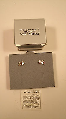 Collectible Vintage Avon Sterling Silver Precious Dove Pierced Earrings