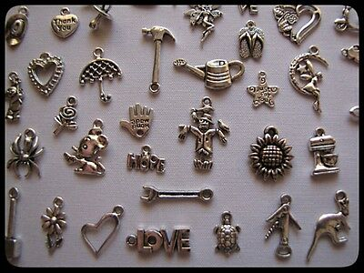 Mixed Bulk Pack Of 100 Mixed Tibetan Silver Charms  ((((Lucky Dip Packs))))