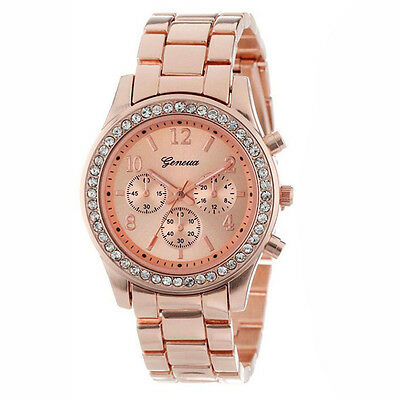 Geneva 2 PACK Rose Gold Plated Classic Round Ladies Boyfriend Watch ED