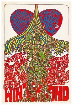 Grateful Dead POSTER Live w/ Moby Grape PSYCHEDELIC  - LOVE Show *AMAZING COLOR*
