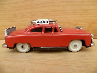 Vintage Old Red Tin Plate Airport Limousine Car, Old Toy Vehicle, (C639)