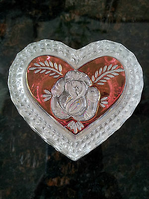 Collector Hofbauer red rose heart crystal trinket box Germany