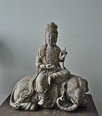 Wood statue Chinese Quanyin on a lotus flower seated on an elephant