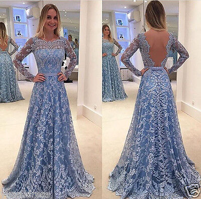 Elegant Long Sleeve Women's Lace Party Prom Mother of the Bridal Evening dress