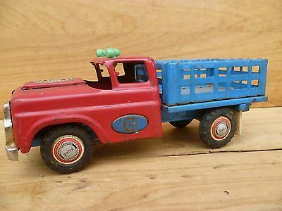 Vintage Old Large Size 'ford' Pick-Up, Mechanical Tin Toy Truck (C656)