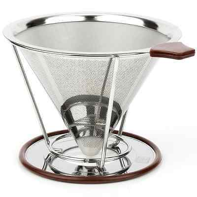 H&S Pour Over Coffee Maker Filter Stainless Steel Coffee Dripper Stand Kit Set