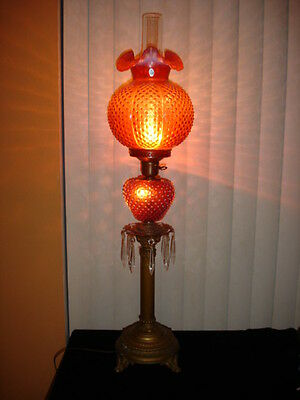 Fenton RARE Cranberry Opalescent Hobnail GWTW style PILLAR lamp NO SHADE