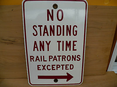 Old Rare Victorian Railways, Station 'no Standing' Enamel Sign (49)