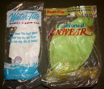 (2) Vintage Women's Rubber Swim Caps White & Green One Size Fits All Vintage New