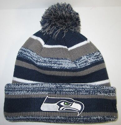 218b8a64c37 Seattle Seahawks New Era Pom Pom Beanie ~Knit Cap ~Classic NFL Patch Logo