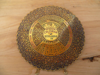 Vintage Old Decorated Brass Calendar (A124)