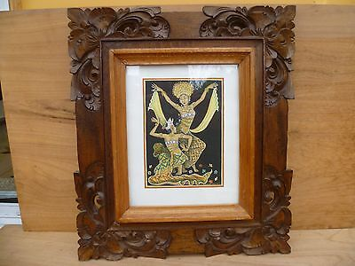 Vintage Old Large Size Indian Scene Timber Carved Picture, Photo Frame, (A927)