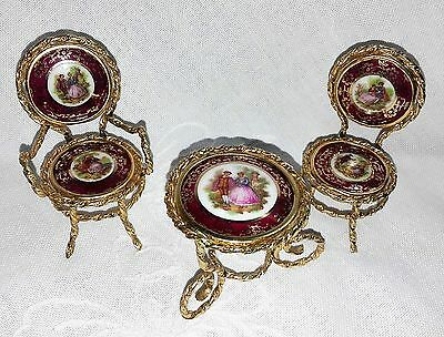 Vintage 1970s French Limoges Miniature Table & Chairs For Display Or Dolls House