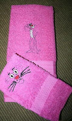 """Pink Panther"" 1 Pink Hand towel & 1 cloth w/black thread embroidery"