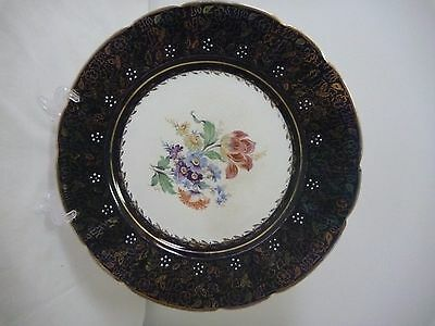 Vintage Tamsware Blue and gold display plate with floral centre.