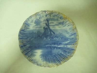 Antique Blue flow plate with gold to the edge. 2 to choose from