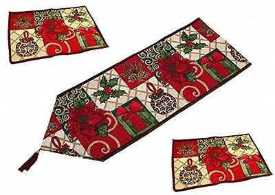 Festival Poinsettias Table Runner With Place Mats, Muticolored And Mutipurpose