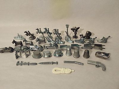 Pewter Tokens Mixed Vintage Lot of 39 Monopoly Clue Disney Movers Arts & Crafts