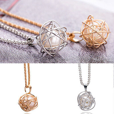 Lady Round Gold/Silver Plated Twisted Cage Faux Pearl Pendant Chain Necklace