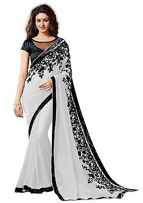 Bollywood Indian Pakistani Ethnic Handmade Designer Saree Sari Chiffon White