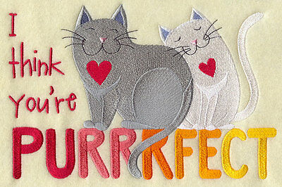 Embroidered I think your purrrfect quilt block,sewing,cat fabric,cushion panel