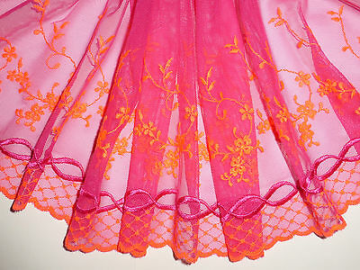"*The Place For Lace* Pink and Orange Embroidered Tulle Lace Trim 7""/18cm"