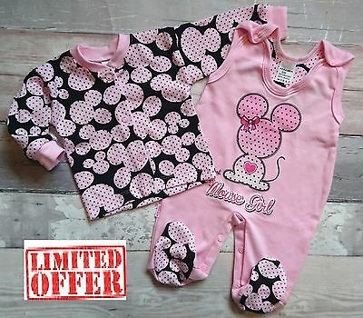 """**NEW** Baby Girls """"SWEET LITTLE MOUSE"""" **2 Piece* Outfit *Set  **100% COTTON**"""
