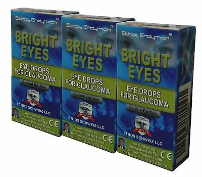 Ethos Bright Eyes NAC Glaucoma Eye Drops. Three Boxes includes 6 x 5ml Bottles.