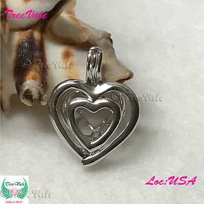 Double Heart Love Pearl Cage Pendant - 925 STERLING SILVER
