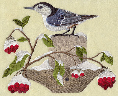 Embroidered Nuthatch in winter quilt block,bird fabric,cushion panel,winter