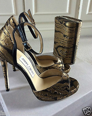 JIMMY CHOO PEARL Gold-black fabric sexy ankle strap Heels 36.5